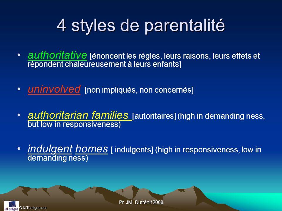 4 styles de parentalité authoritative [énoncent les règles, leurs raisons, leurs effets et répondent chaleureusement à leurs enfants]